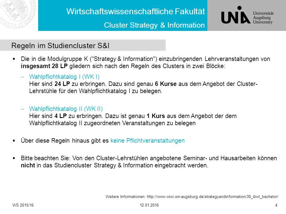 Wirtschaftswissenschaftliche Fakultät WS 2015/1612.01.20164 Cluster Strategy & Information Weitere Informationen: http://www.wiwi.uni-augsburg.de/stra