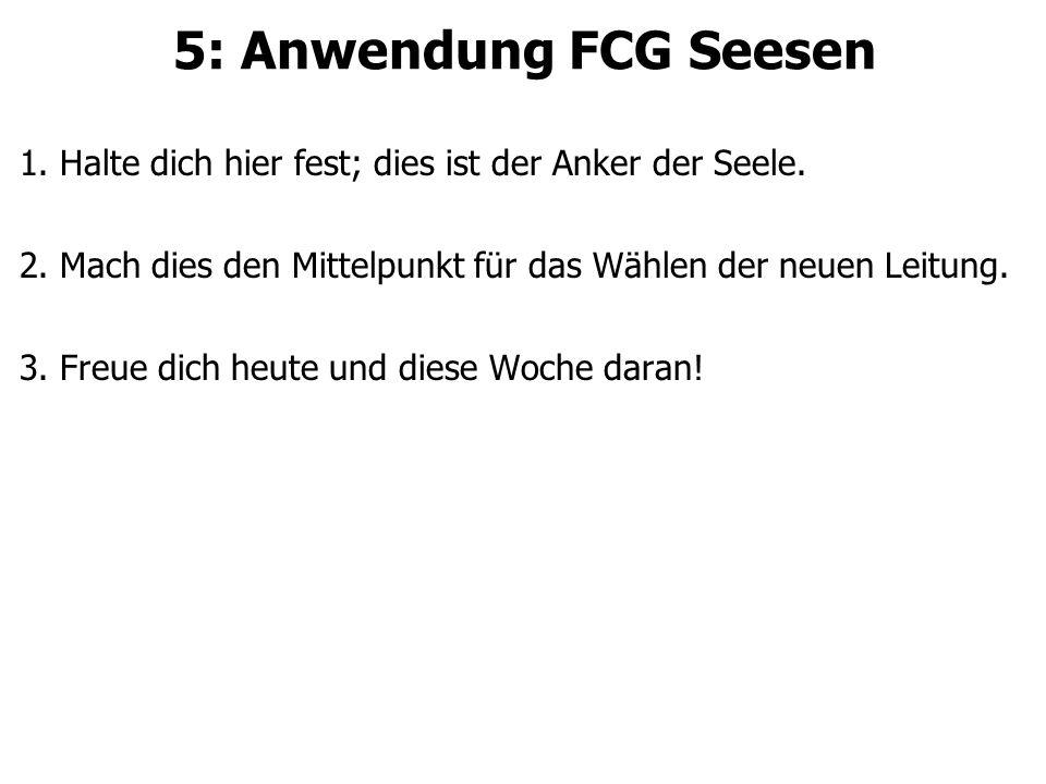 5: Anwendung FCG Seesen 1.Halte dich hier fest; dies ist der Anker der Seele.