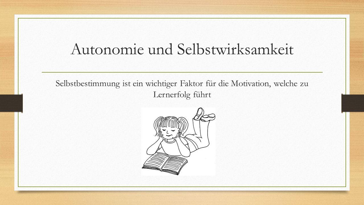 Autonomie und Selbstwirksamkeit Selbstbestimmung ist ein wichtiger Faktor für die Motivation, welche zu Lernerfolg führt