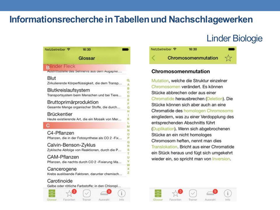 Linder Biologie Informationsrecherche in Tabellen und Nachschlagewerken