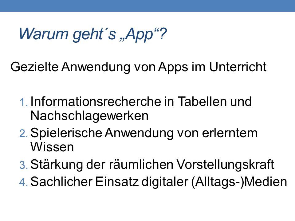 """Warum geht´s """"App""""? Gezielte Anwendung von Apps im Unterricht 1. Informationsrecherche in Tabellen und Nachschlagewerken 2. Spielerische Anwendung von"""