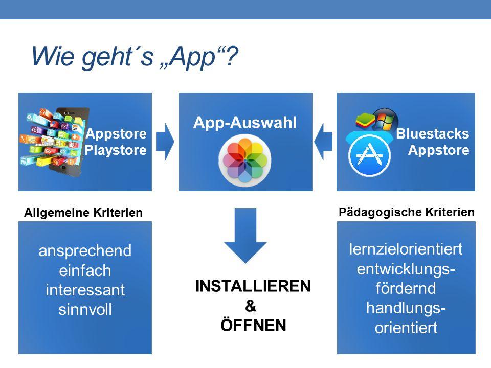 "Wie geht´s ""App""? App-Auswahl Appstore Playstore Bluestacks Appstore ansprechend einfach interessant sinnvoll lernzielorientiert entwicklungs- fördern"