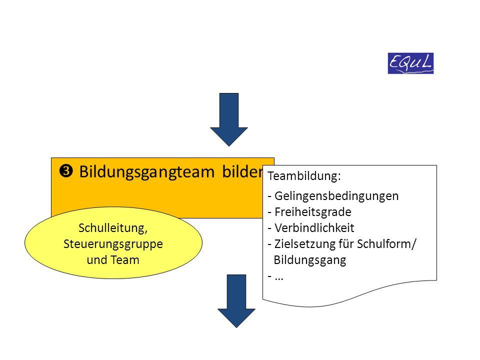  Bildungsgangteam bilden Schulleitung, Steuerungsgruppe und Team Teambildung: - Gelingensbedingungen - Freiheitsgrade - Verbindlichkeit - Zielsetzung für Schulform/ Bildungsgang - …