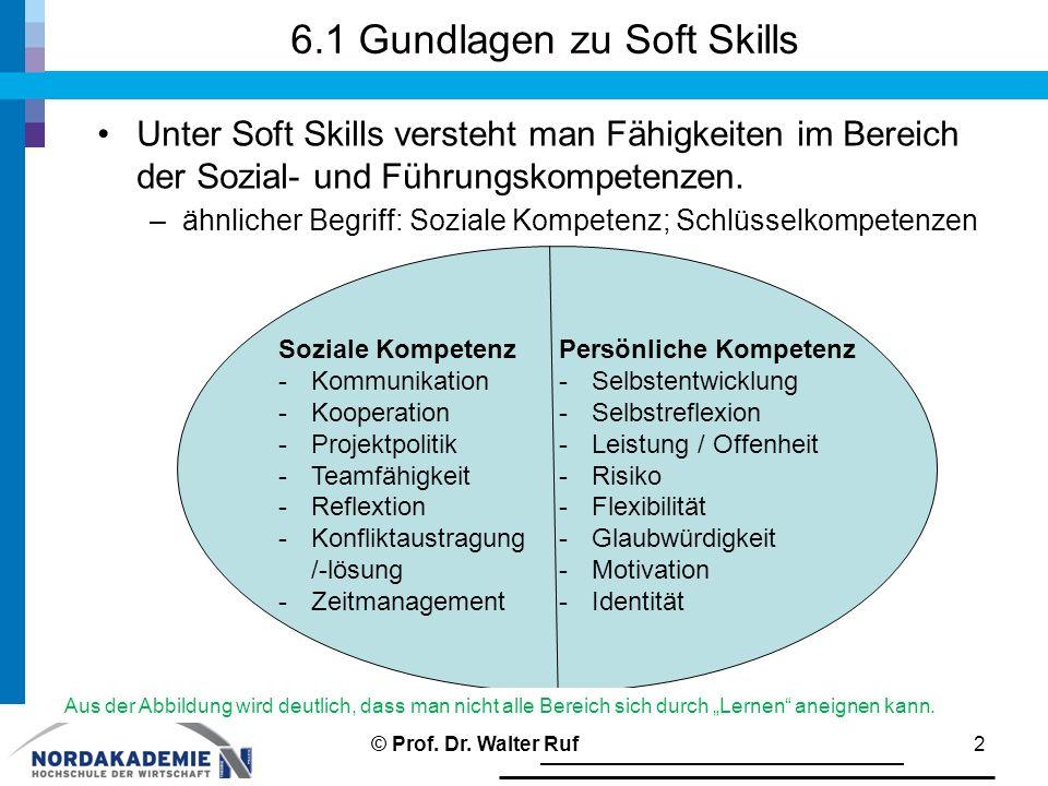 6.1 Gundlagen zu Soft Skills Unter Soft Skills versteht man Fähigkeiten im Bereich der Sozial- und Führungskompetenzen. –ähnlicher Begriff: Soziale Ko