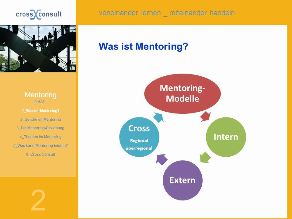 2 Was ist Mentoring? Mentoring- Modelle InternExtern Cross Regional überregional Mentoring INHALT 1_Was ist Mentoring? 2_Gender im Mentoring 3_Die Men