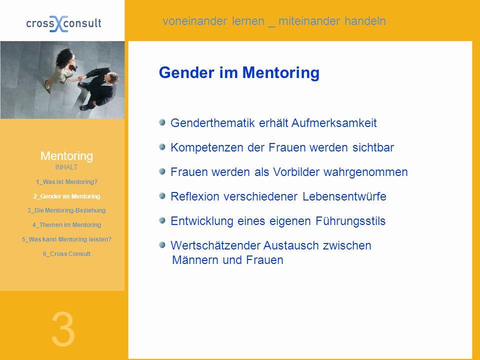 Gender im Mentoring Genderthematik erhält Aufmerksamkeit Kompetenzen der Frauen werden sichtbar Frauen werden als Vorbilder wahrgenommen Reflexion ver