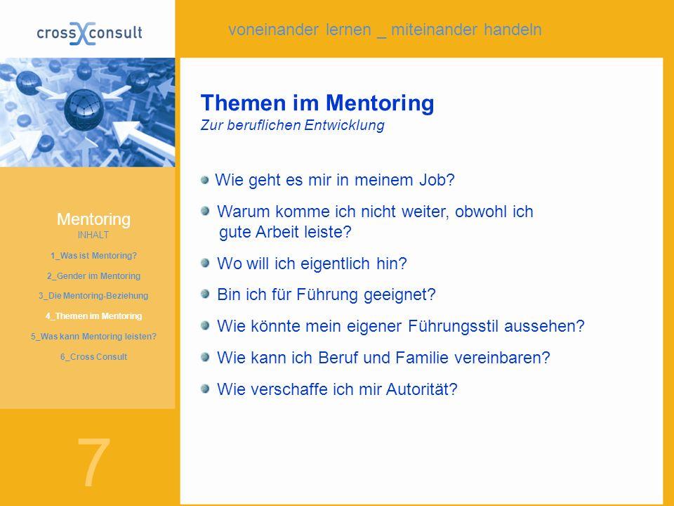 6 Mentoring INHALT 1_Was ist Mentoring? 2_Gender im Mentoring 3_Die Mentoring-Beziehung 4_Themen im Mentoring 4_Was kann Mentoring leisten? 5_Die Init