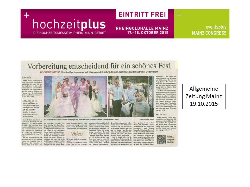 Allgemeine Zeitung Mainz 19.10.2015