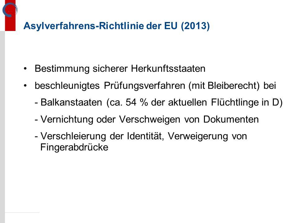Asylverfahrens-Richtlinie der EU (2013) Bestimmung sicherer Herkunftsstaaten beschleunigtes Prüfungsverfahren (mit Bleiberecht) bei - Balkanstaaten (ca.