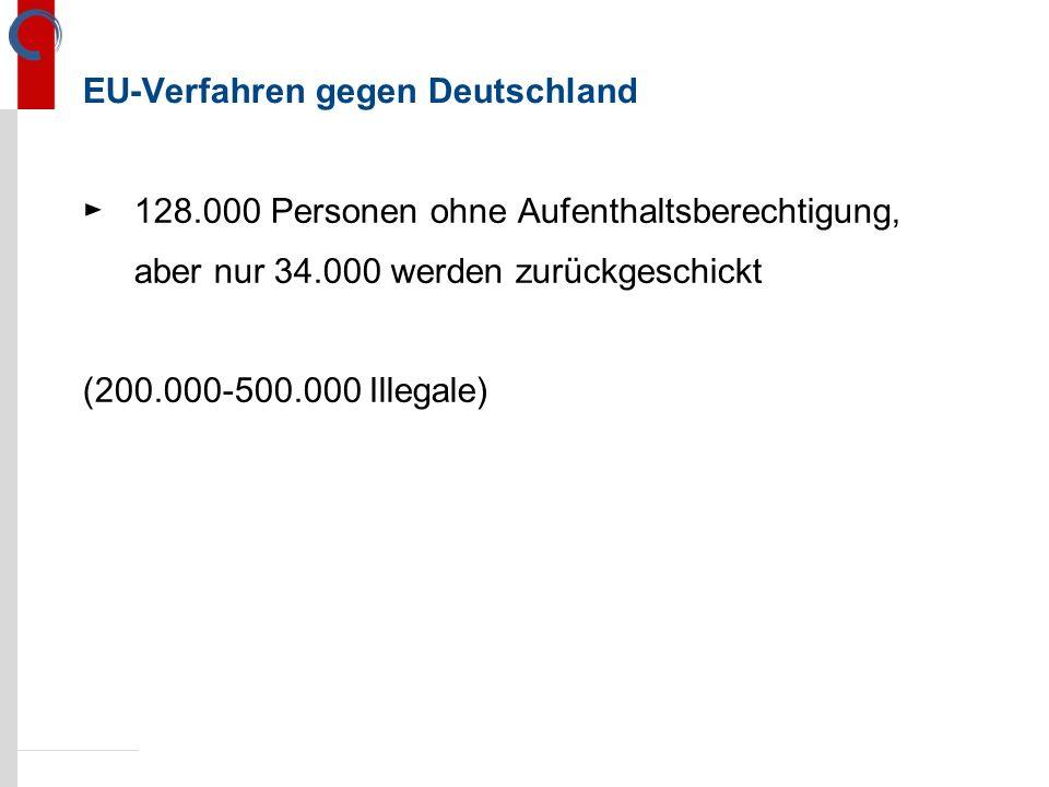 EU-Verfahren gegen Deutschland ►128.000 Personen ohne Aufenthaltsberechtigung, aber nur 34.000 werden zurückgeschickt (200.000-500.000 Illegale)