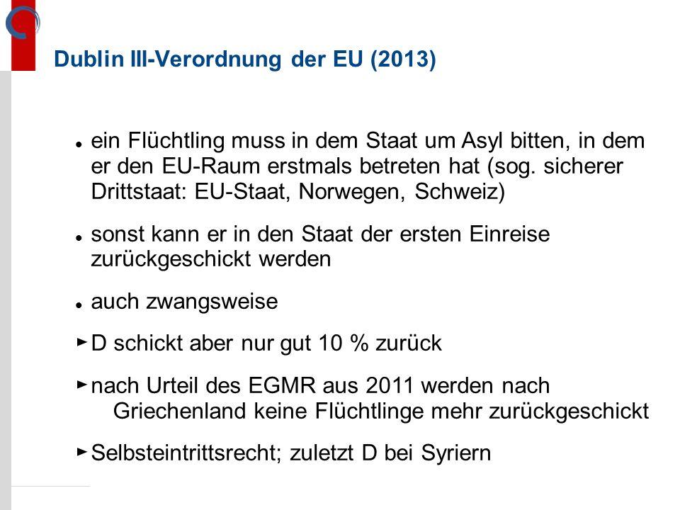 Dublin III-Verordnung der EU (2013) ein Flüchtling muss in dem Staat um Asyl bitten, in dem er den EU-Raum erstmals betreten hat (sog.