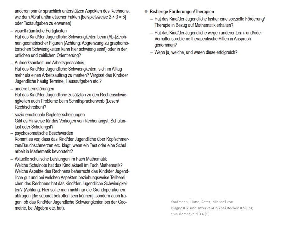 Kaufmann, Liane; Aster, Michael von Diagnostik und Intervention bei Rechenstörung cme Kompakt 2014 (1)