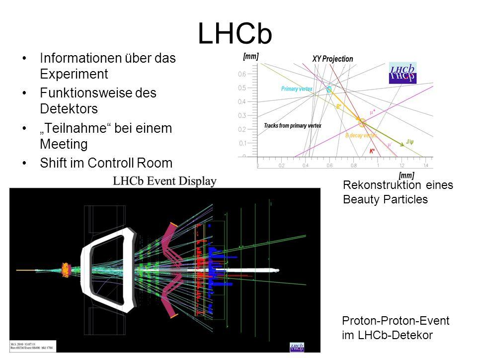 "LHCb Informationen über das Experiment Funktionsweise des Detektors ""Teilnahme bei einem Meeting Shift im Controll Room Rekonstruktion eines Beauty Particles Proton-Proton-Event im LHCb-Detekor"