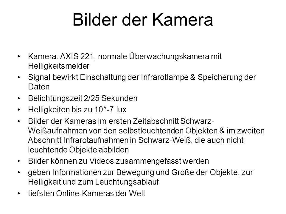 Bilder der Kamera Kamera: AXIS 221, normale Überwachungskamera mit Helligkeitsmelder Signal bewirkt Einschaltung der Infrarotlampe & Speicherung der D