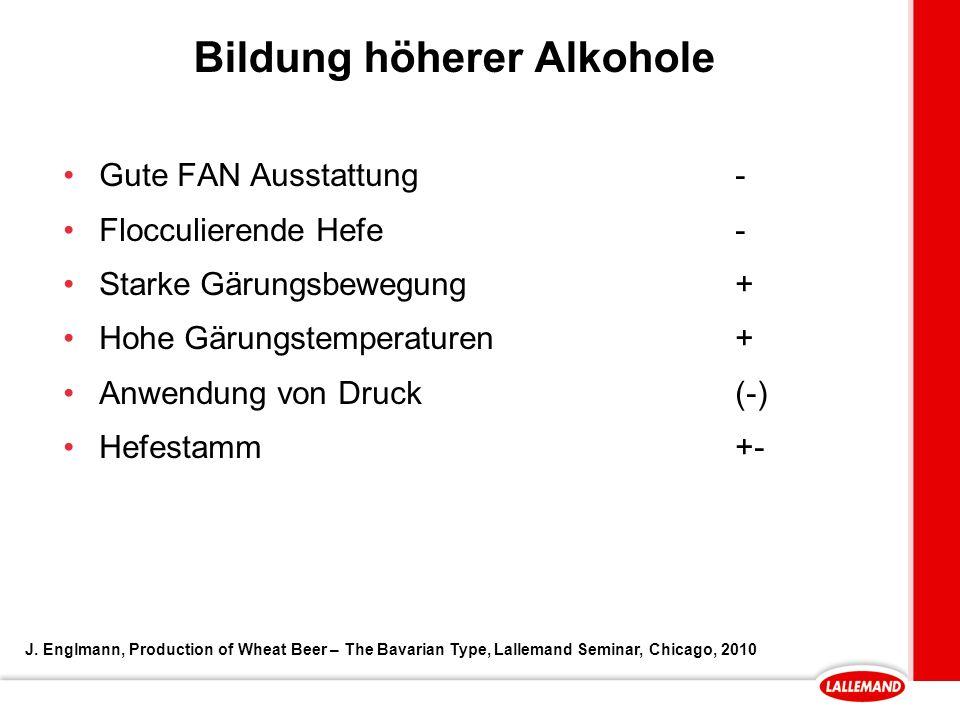 Bildung höherer Alkohole Gute FAN Ausstattung- Flocculierende Hefe- Starke Gärungsbewegung+ Hohe Gärungstemperaturen+ Anwendung von Druck(-) Hefestamm+- J.