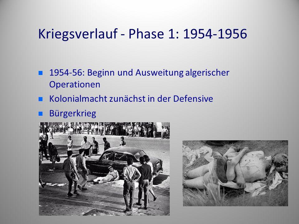 Kriegsverlauf - Phase 1: 1954-1956 1954-56: Beginn und Ausweitung algerischer Operationen Kolonialmacht zunächst in der Defensive Bürgerkrieg
