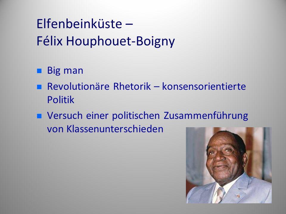 Elfenbeinküste – Félix Houphouet-Boigny Big man Revolutionäre Rhetorik – konsensorientierte Politik Versuch einer politischen Zusammenführung von Klas