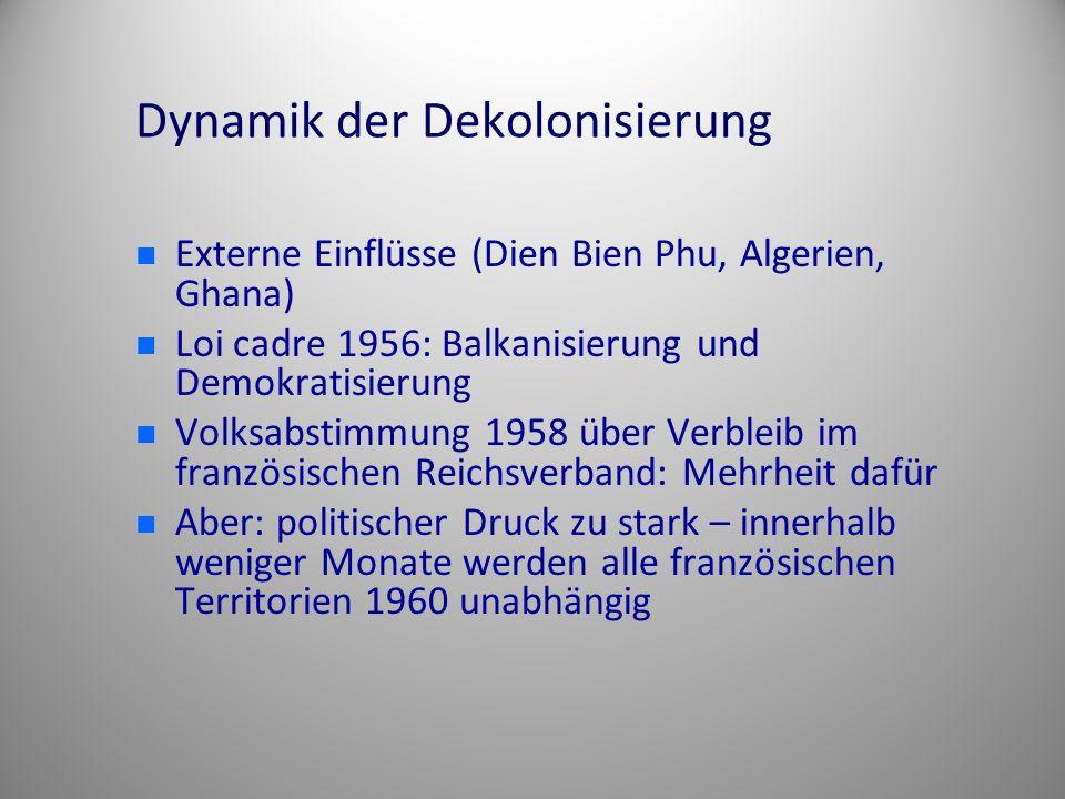 Dynamik der Dekolonisierung Externe Einflüsse (Dien Bien Phu, Algerien, Ghana) Loi cadre 1956: Balkanisierung und Demokratisierung Volksabstimmung 195