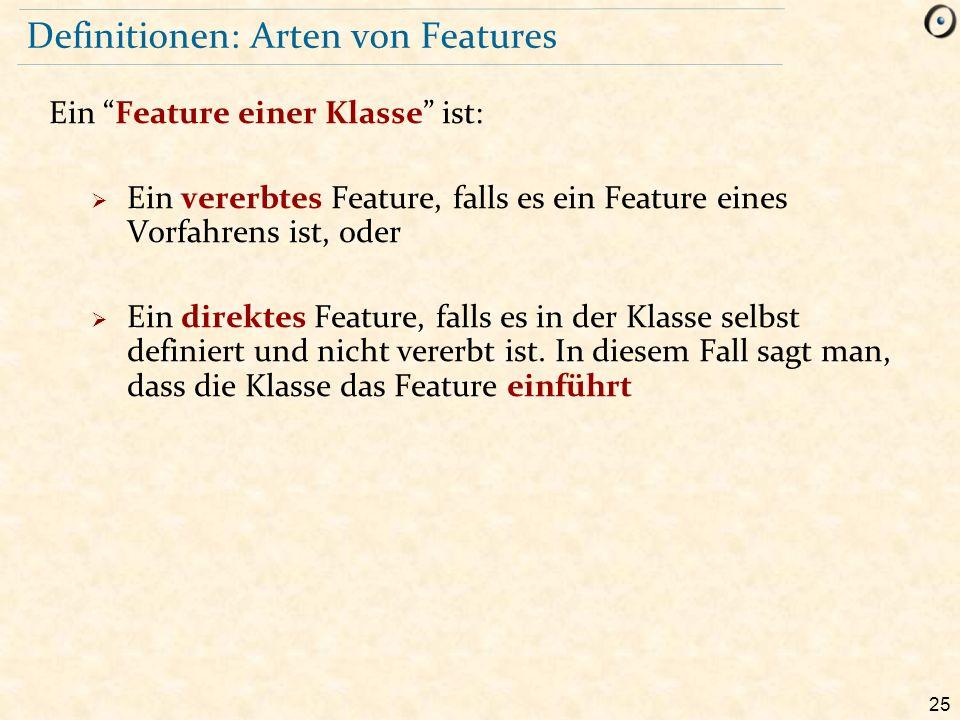 25 Definitionen: Arten von Features Ein Feature einer Klasse ist:  Ein vererbtes Feature, falls es ein Feature eines Vorfahrens ist, oder  Ein direktes Feature, falls es in der Klasse selbst definiert und nicht vererbt ist.