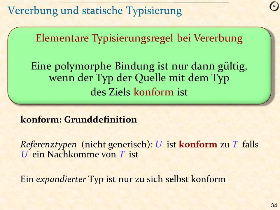 34 Vererbung und statische Typisierung Elementare Typisierungsregel bei Vererbung Eine polymorphe Bindung ist nur dann gültig, wenn der Typ der Quelle mit dem Typ des Ziels konform ist konform: Grunddefinition Referenztypen (nicht generisch): U ist konform zu T falls U ein Nachkomme von T ist Ein expandierter Typ ist nur zu sich selbst konform