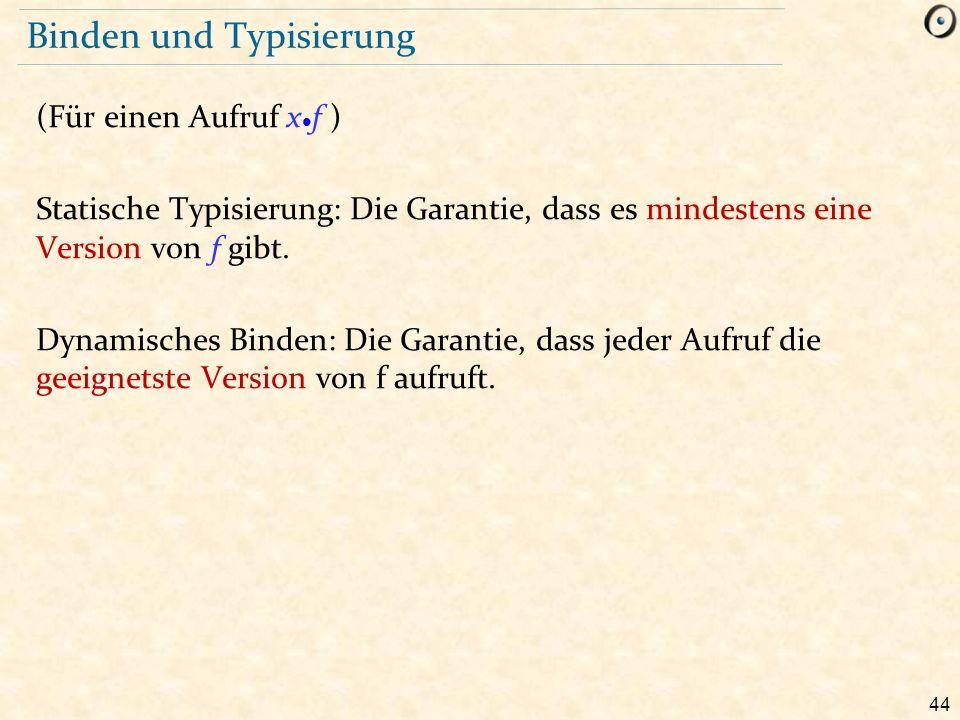 44 Binden und Typisierung (Für einen Aufruf x f ) Statische Typisierung: Die Garantie, dass es mindestens eine Version von f gibt. Dynamisches Binden: