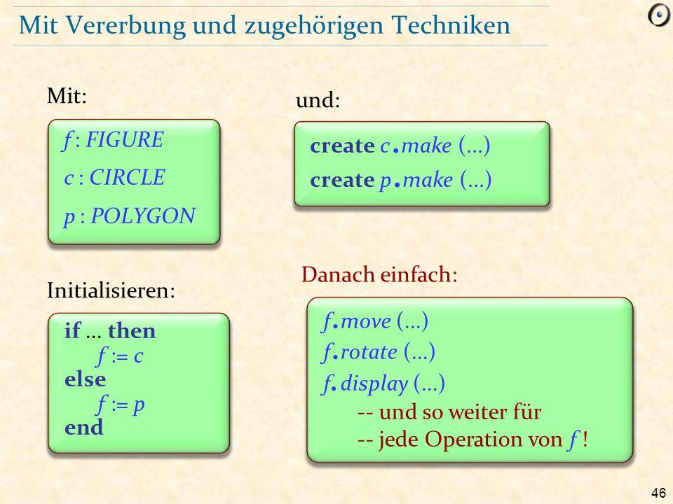 46 Mit Vererbung und zugehörigen Techniken Mit: Initialisieren: und: Danach einfach: create c. make (...) create p. make (...) if... then f := c else