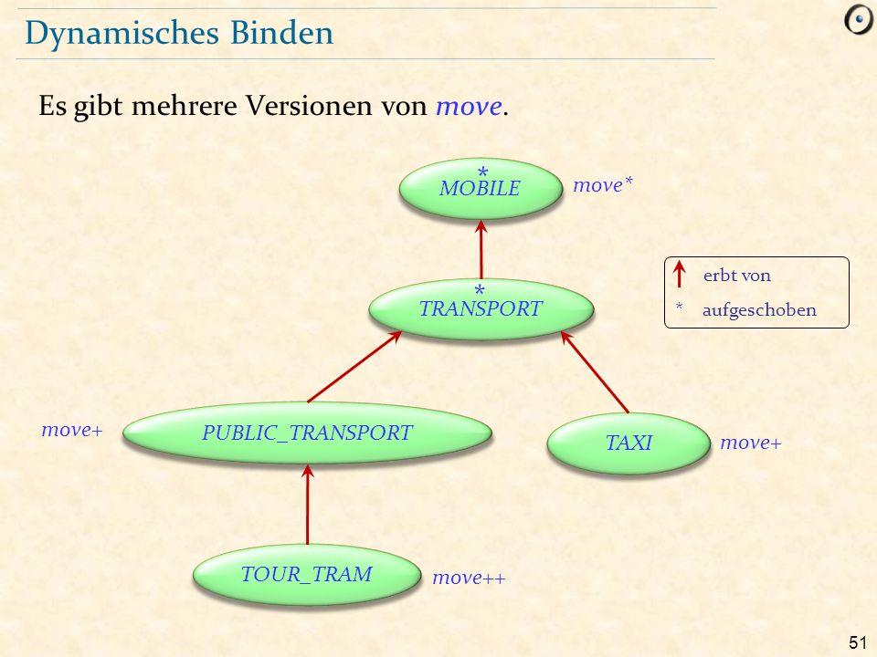 51 Dynamisches Binden Es gibt mehrere Versionen von move. erbt von * aufgeschoben MOBILE TRANSPORT TAXI PUBLIC_TRANSPORT TOUR_TRAM move* * * move+ mov
