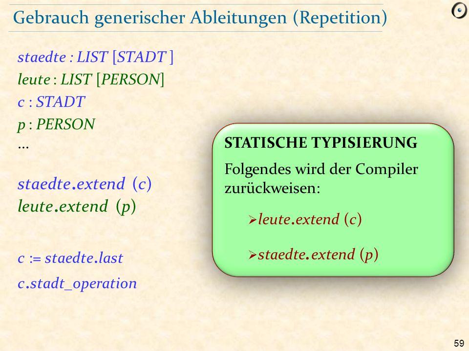 59 Gebrauch generischer Ableitungen (Repetition) staedte : LIST [STADT ] leute : LIST [PERSON] c : STADT p : PERSON...