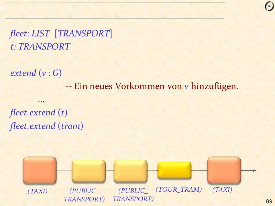 69 fleet: LIST [TRANSPORT] t: TRANSPORT extend (v : G) -- Ein neues Vorkommen von v hinzufügen. … fleet.extend (t) fleet.extend (tram) (TAXI) (PUBLIC_