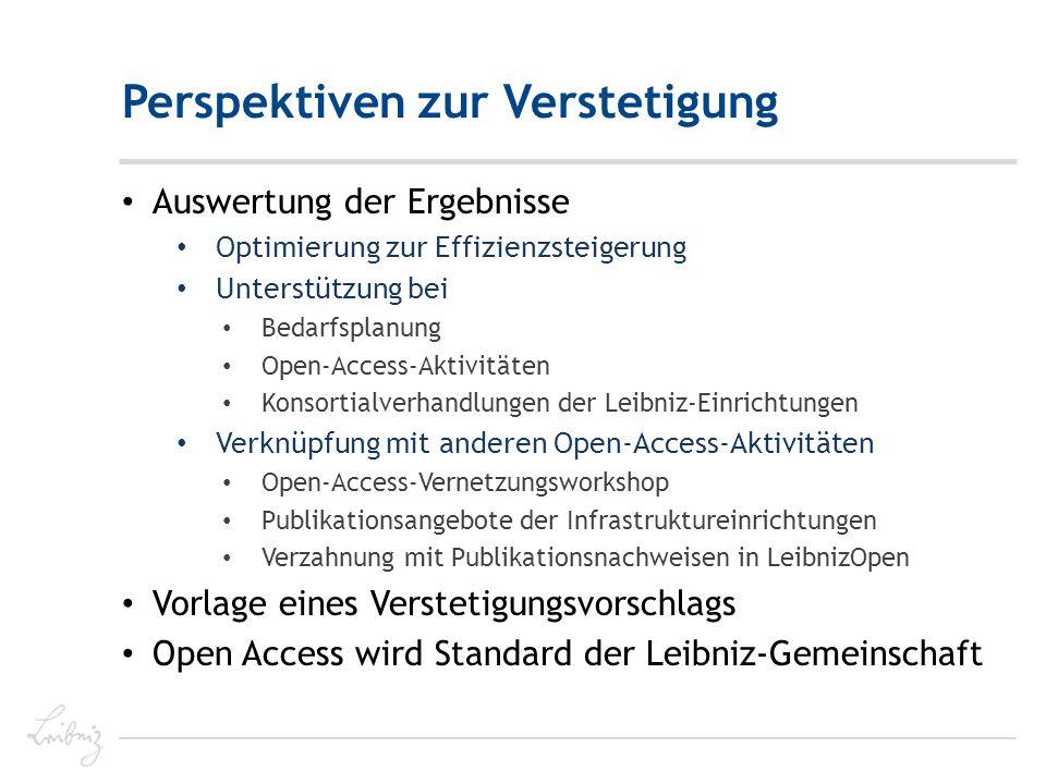 Perspektiven zur Verstetigung Auswertung der Ergebnisse Optimierung zur Effizienzsteigerung Unterstützung bei Bedarfsplanung Open-Access-Aktivitäten Konsortialverhandlungen der Leibniz-Einrichtungen Verknüpfung mit anderen Open-Access-Aktivitäten Open-Access-Vernetzungsworkshop Publikationsangebote der Infrastruktureinrichtungen Verzahnung mit Publikationsnachweisen in LeibnizOpen Vorlage eines Verstetigungsvorschlags Open Access wird Standard der Leibniz-Gemeinschaft