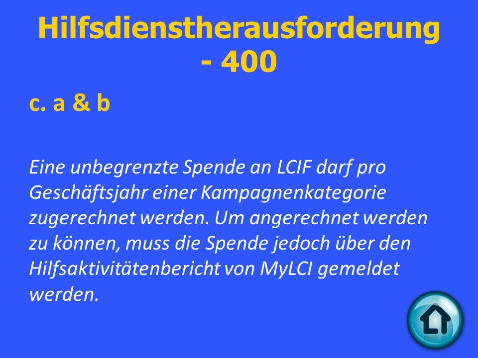 Hilfsdienstherausforderung - 400 c.