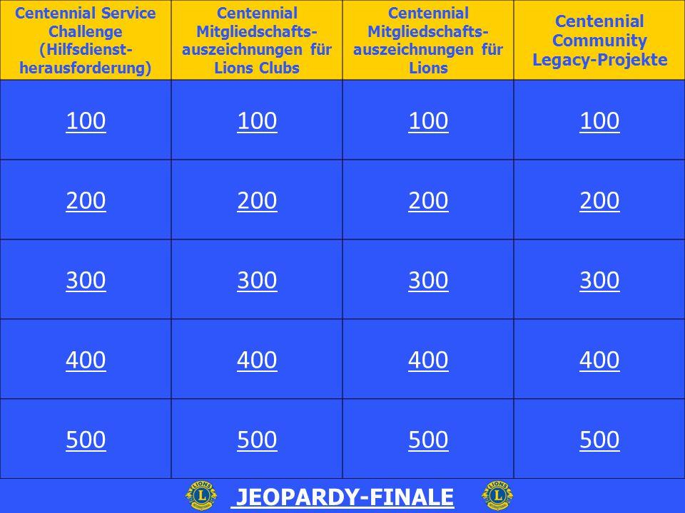 Centennial Mitgliedschaftsauszeichnungen für Lions Clubs - 100 In diesem Zeitraum kann man Centennial Mitgliedschaftsauszeichnungen erwerben: a.1.