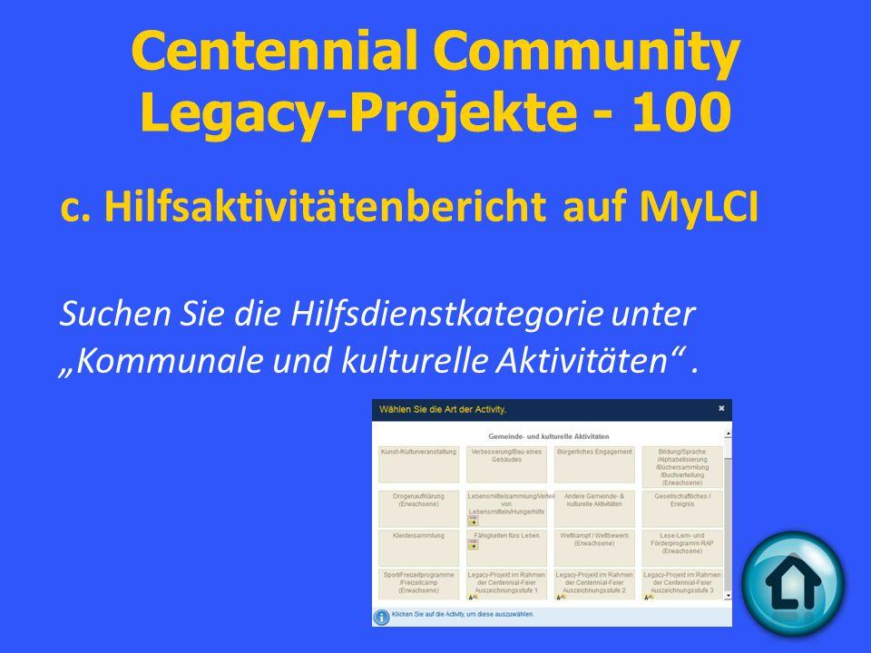 Centennial Community Legacy-Projekte - 100 c.