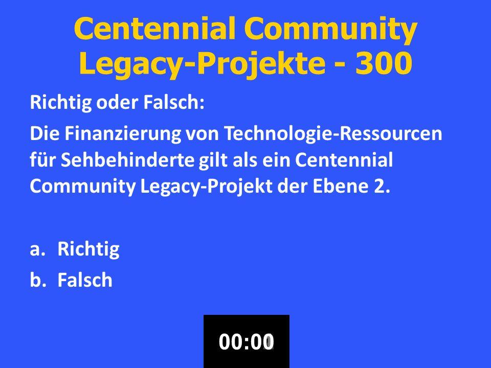 Centennial Community Legacy-Projekte - 300 Richtig oder Falsch: Die Finanzierung von Technologie-Ressourcen für Sehbehinderte gilt als ein Centennial Community Legacy-Projekt der Ebene 2.