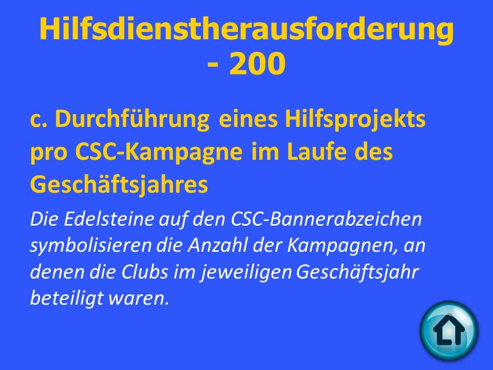 Hilfsdienstherausforderung - 200 c.