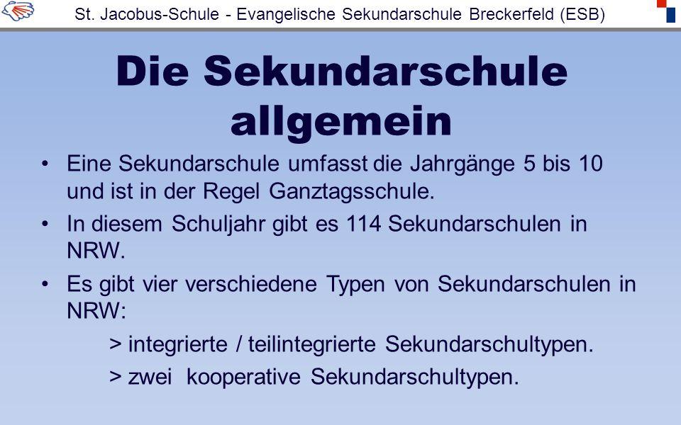 Die Sekundarschule in Breckerfeld Nur die Evangelische Sekundarschule Breckerfeld ist eine kooperative Sekundarschule mit drei Bildungsgängen: > Gymnasium > Realschule > Hauptschule Gestartet ist die ESB mit dem Schuljahr 2012 /13.