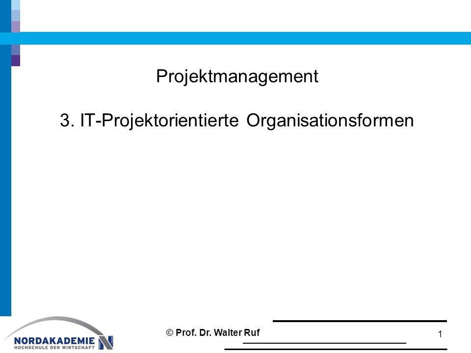 Projektmanagement 3. IT-Projektorientierte Organisationsformen 1 © Prof. Dr. Walter Ruf