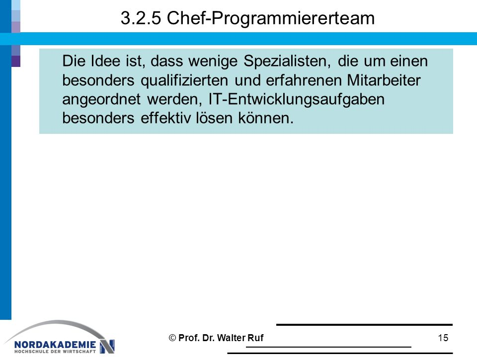 3.2.5 Chef-Programmiererteam Die Idee ist, dass wenige Spezialisten, die um einen besonders qualifizierten und erfahrenen Mitarbeiter angeordnet werde