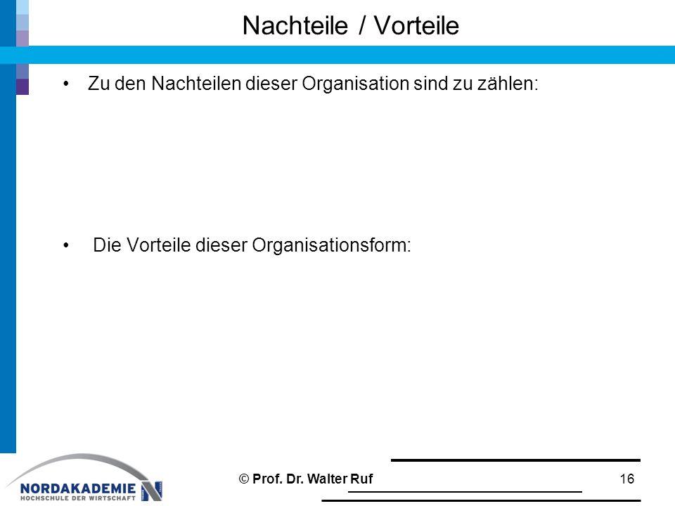 Nachteile / Vorteile Zu den Nachteilen dieser Organisation sind zu zählen: Die Vorteile dieser Organisationsform: 16© Prof. Dr. Walter Ruf