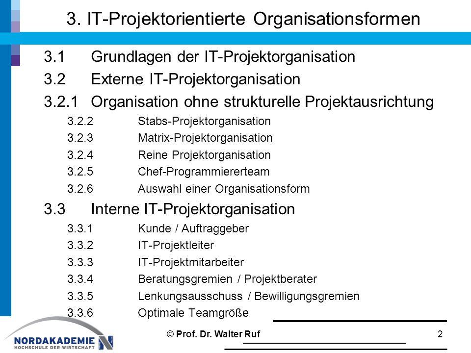3. IT-Projektorientierte Organisationsformen 3.1Grundlagen der IT-Projektorganisation 3.2Externe IT-Projektorganisation 3.2.1Organisation ohne struktu