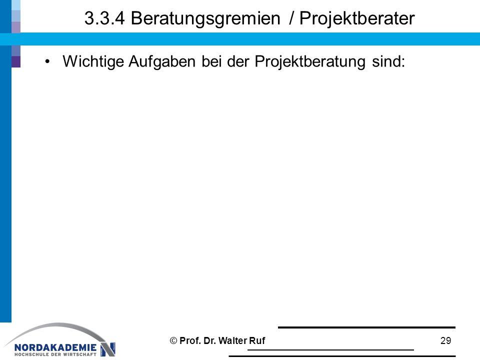 3.3.4 Beratungsgremien / Projektberater Wichtige Aufgaben bei der Projektberatung sind: 29© Prof. Dr. Walter Ruf