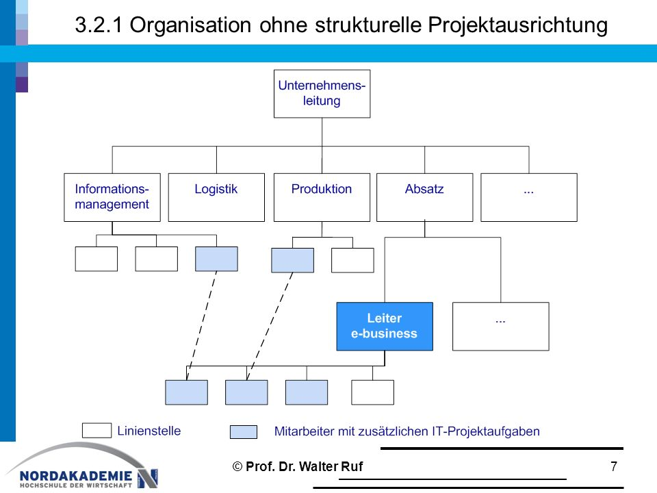 3.2.1 Organisation ohne strukturelle Projektausrichtung 7© Prof. Dr. Walter Ruf