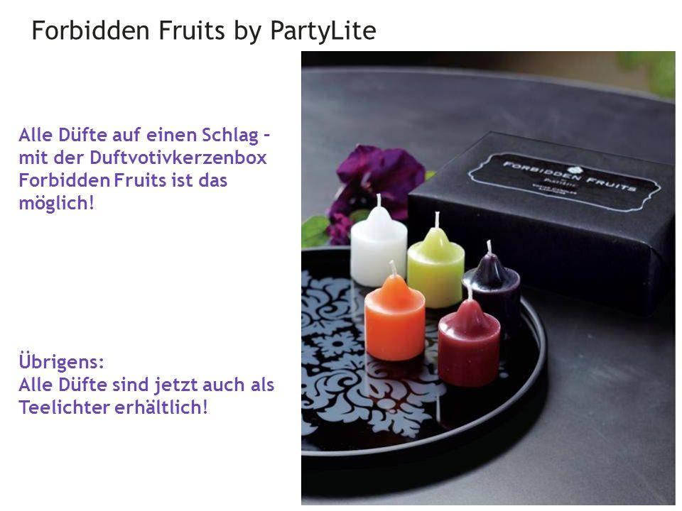 Forbidden Fruits by PartyLite 29 Alle Düfte auf einen Schlag – mit der Duftvotivkerzenbox Forbidden Fruits ist das möglich.