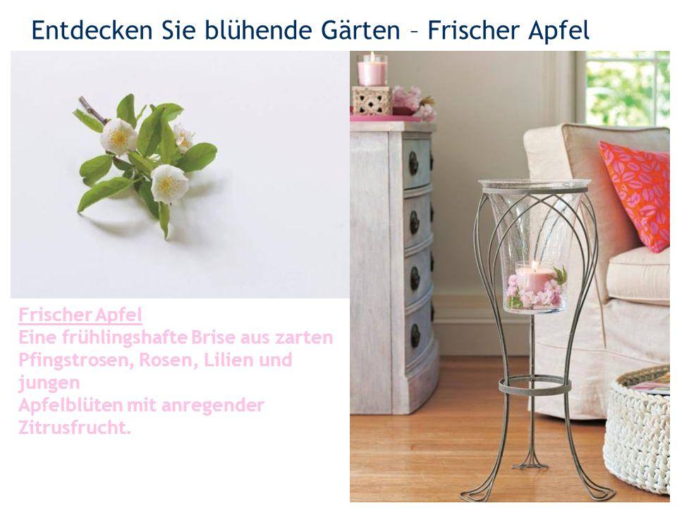 Entdecken Sie blühende Gärten – Frischer Apfel 4 Frischer Apfel Eine frühlingshafte Brise aus zarten Pfingstrosen, Rosen, Lilien und jungen Apfelblüten mit anregender Zitrusfrucht.