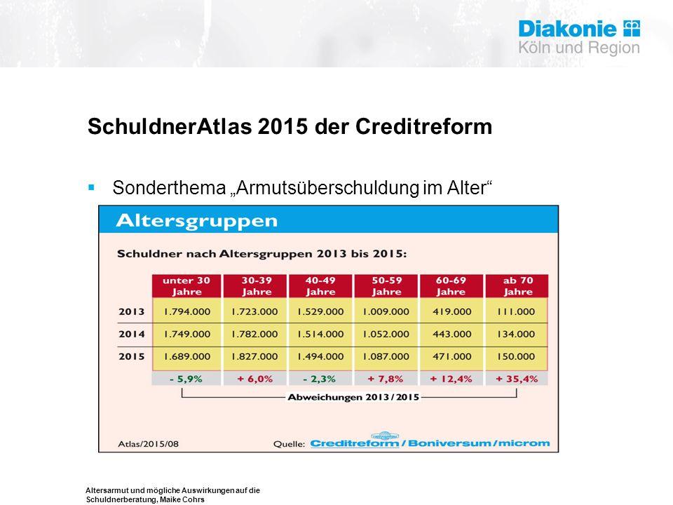 """Altersarmut und mögliche Auswirkungen auf die Schuldnerberatung, Maike Cohrs SchuldnerAtlas 2015 der Creditreform  Sonderthema """"Armutsüberschuldung i"""