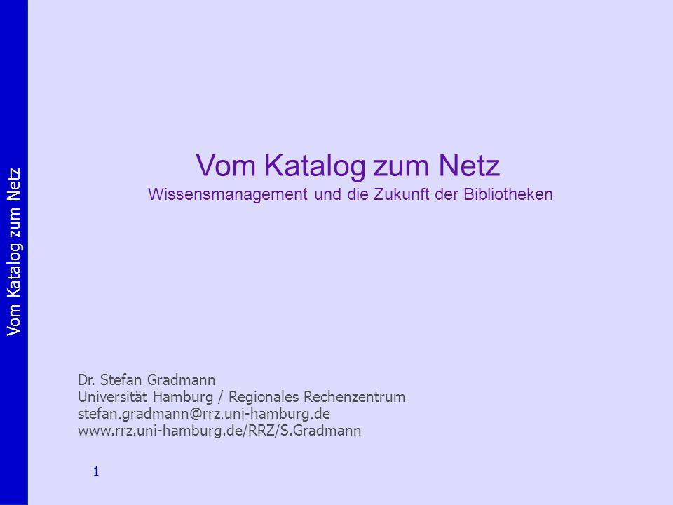 Vom Katalog zum Netz Wissensmanagement und die Zukunft der Bibliotheken.