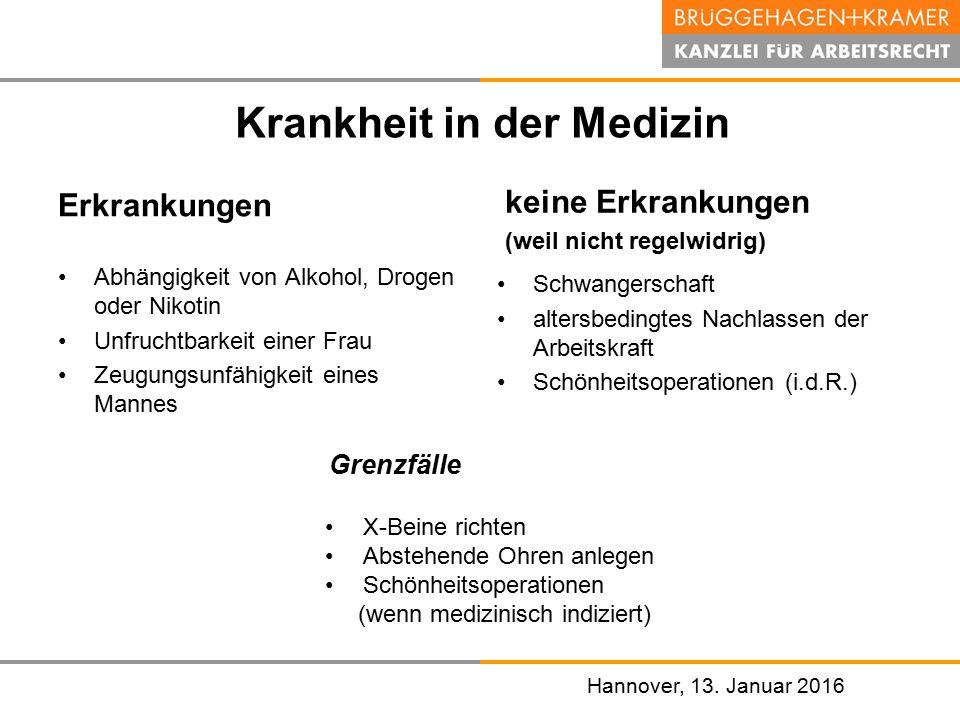 Hannover, den 07. November 2008 Hannover, 13. Januar 2016 Krankheit in der Medizin Erkrankungen Abhängigkeit von Alkohol, Drogen oder Nikotin Unfrucht