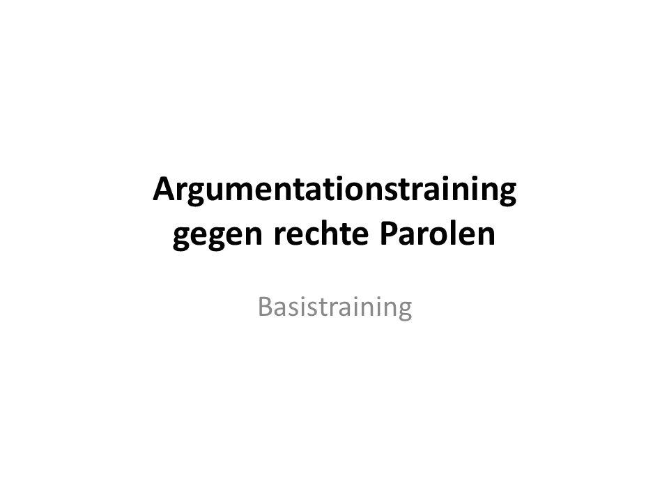 Argumentationstraining gegen rechte Parolen Basistraining
