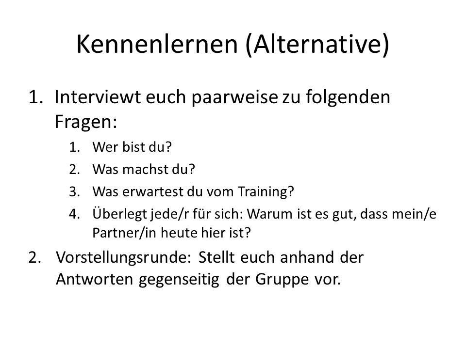 Kennenlernen (Alternative) 1.Interviewt euch paarweise zu folgenden Fragen: 1.Wer bist du? 2.Was machst du? 3.Was erwartest du vom Training? 4.Überleg
