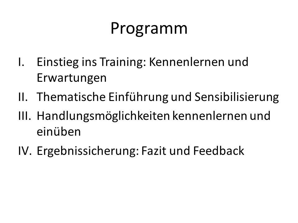 Programm I.Einstieg ins Training: Kennenlernen und Erwartungen II.Thematische Einführung und Sensibilisierung III.Handlungsmöglichkeiten kennenlernen